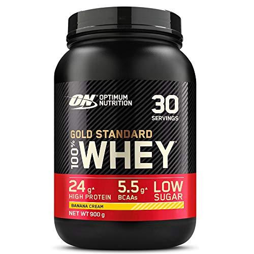 Optimum Nutrition Gold Standard 100% Whey Proteine in Polvere con Proteine Isolate, Aminoacidi e Glutammina per la Massa Muscolare, Crema di Banana, 30 Porzioni, 0.9 kg, il Packaging Potrebbe Variare