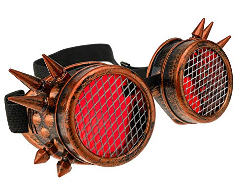 4sold Power Steampunk Antique Copper Cyber Goggles Rave Goth Vintage Victorian like Sunglasses all pictures with free lensses and stickers (Grating Copper Studs)