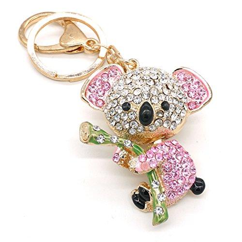 Cooplay Cute Lovely Koala Bear Animal Diamond Crystal Rhinestone Gold Crystal Keychain Charm Pendent Beautiful Accessories the Best Gift for Girl Women Purse Handbag Bag Keyrings (Pink)
