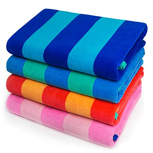 Softerry - Extra Soft Beach Towel 30 x 60 inch Cabana Stripe Hotel Pool and Resort Style Absorbent Terry 100% Cotton (Royal-Tur-Red-Pink, 4 Pack)