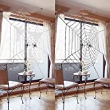 AKDSteel 2 Pack Spider Webs Set with Spider Cotton Halloween Party Decorations Giant Black and White Spider Webs not Include Spiders, 5.9 feet Diameter Fit for Outdoor and Indoor