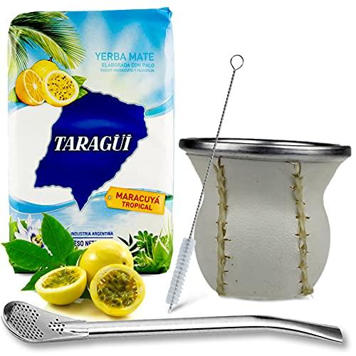 Juego de té mate: Yerba Mate Taragui Maracuya Tropical 0,5 kg | Vaso mate de cristal con revestimiento de piel auténtica (blanco) – Calebaza | Bombilla | Cepillo de limpieza