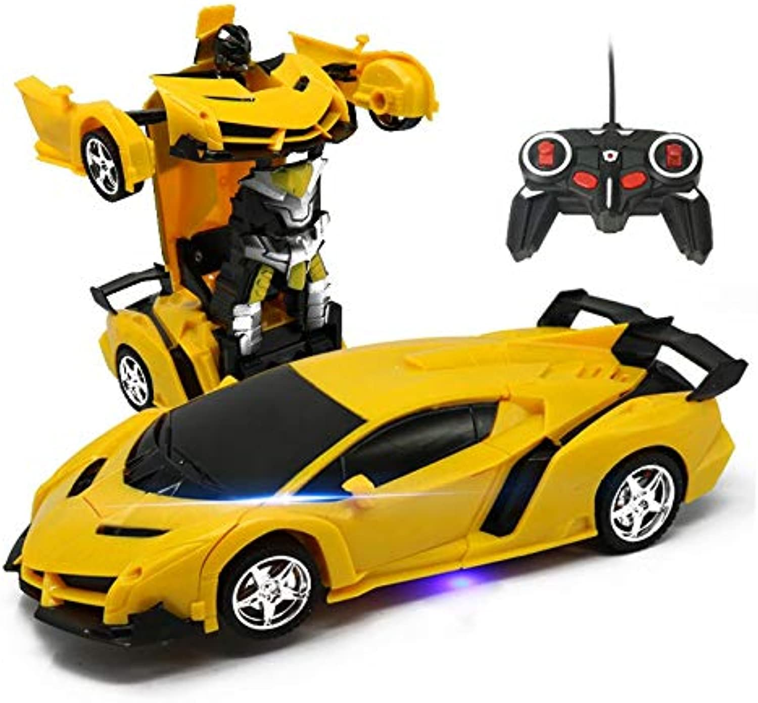 Generic Global Drone Rc Transformer 2 in 1 RC Car Driving Sports Cars Model RC Robots Models Radio-Controlled Toys for Boys Yellow