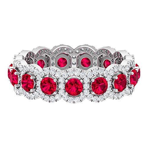 Ampia fede nuziale, 2,2 ct, 3 mm, in vetro rubino riempito, anello eternity HI-SI con diamante 0,82 ct, anello unico per anniversario, pietra portafortuna luglio, 14K Oro bianco, Size:EU 70