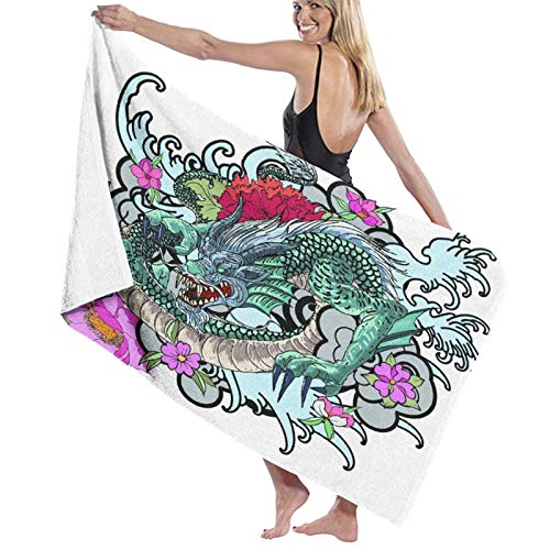 Asciugamano da bagno in microfibra,Libro da colorare del tatuaggio del drago asi,teli da mare leggeri e assorbenti per la piscina da viaggio Nuoto Campeggio Yoga Palestra Sport 52'x32'