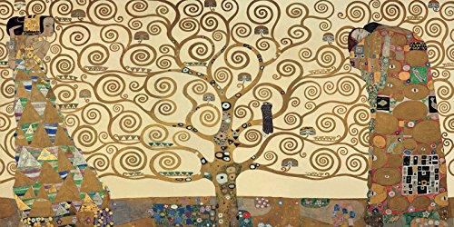 Cadre Impression sur Panneau en bois MDF Gustav Klimt The Tree of Life 160x80 CM bord noir