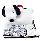 Animal Adventure| Peanuts|Snoopy | Character Cuddle Combos| 2-in-1 Stow-n-Throw Cuddle Bud with Carrying Handle & Zipper Pouch for Blanket Storage Set –30' W x 40' H Blanket