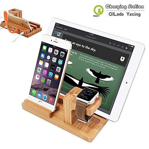 3 in 1 USB-Ladestation Station Organizer Bracket Universal Holz Handy Halterung für Apple Watch iPhone XR XS Max X 8 7 6S 6 Plus iPad