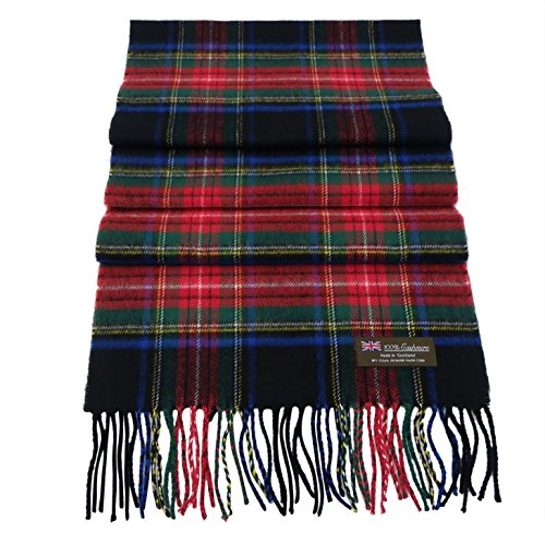 Rosemarie Collections 100% Cashmere Winter Scarf Made In Scotland (Black Scottish Tartan)
