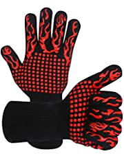 Warome BBQ Gloves 800°C Heat Resistant Grill Gloves Fireproof Barbecue Grilling Potholders Silicone Non-Slip Oven Mitts for BBQ, Cooking, Baking, Grilling, Welding