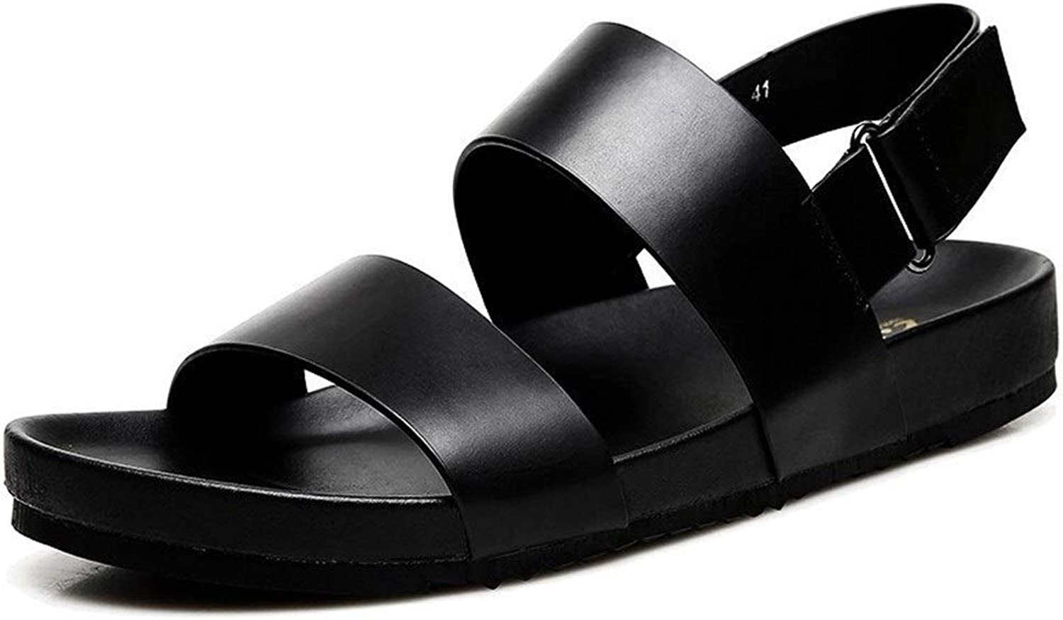 Men's Sandals and Slippers, Leather Summer Casual Beach shoes   Open Toe Slippers   Leather Upper   EVA Plastic Non-Slip Sole (color   Black, Size   41EU)