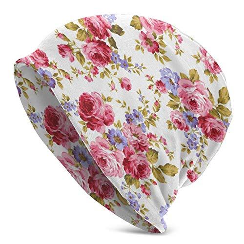 Sombrero de Punto para Adultos con patrón de Flor Rosa, Gorro Suave Holgado, Gorro de Skully, Medio pasamontañas, Gorros de Cobertura