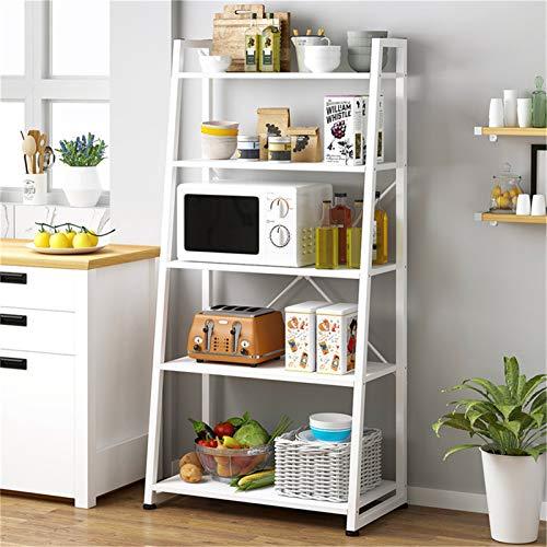 Rack de Almacenamiento de Cocina Cocina de 5 niveles Baker's Rack Utility Shelf Microwave Stand con almacenamiento y cajón de almacenamiento Carro Estantería de estaciones de trabajo Estantes de Utens