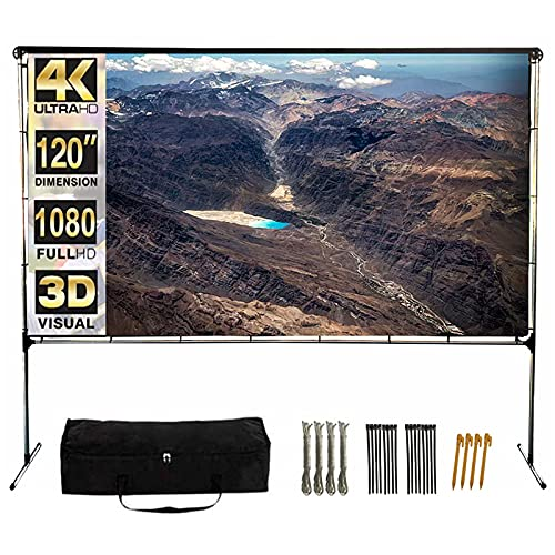 QILEBA Projector Screen with Stand,120 Inch (16:9) HD 4K Outdoor Indoor Portable Projection Screen Fast Folding Movie Screen with Stand Legs and Carry Bag Suit for Home Theater 3D Camping Meet