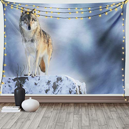 Ambesonne Wolf Tapestry, Carnivore Animal in Snow Mountains Blurred Background Alpine Canine Nature Photograph, Fabric Wall Hanging Decor for Bedroom Living Room Dorm, 90' X 60', Bluegrey Grey