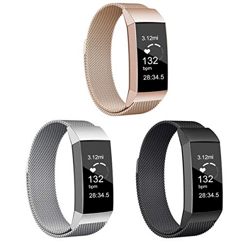 3 Pack Metal Replacement Bands Compatible with Fitbit Charge 3/ Fitbit Charge 4 / Fitbit Charge 3 SE Smart Watch with Stainless Steel Metal for Women and Men (Black/Rose Gold/Sliver, Small)
