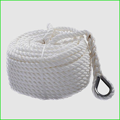 """Nylon Anchor Rope For Boat Sailboat 1/2""""x150' Twisted Three Strand 6600LBS Tough And Strong - House Deals"""