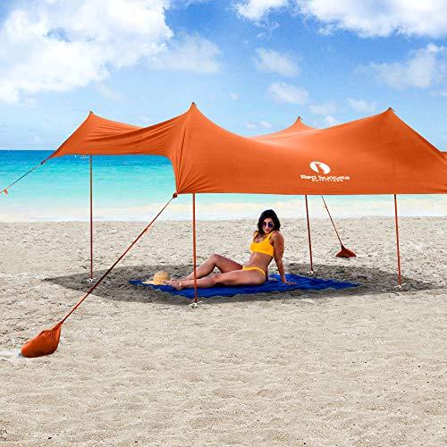 Red Suricata Family Beach Sunshade - Sun Shade Canopy | UPF50 UV Protection | Tent with 4 Aluminum Poles, 4 Pole Anchors, 4 Sandbag Anchors | Large & Portable Shelter Tarp