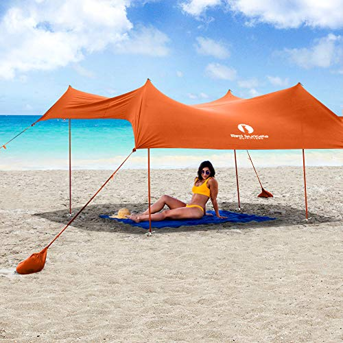 Red Suricata Family Beach Sunshade - Sun Shade Canopy | UPF50 UV Protection | Tent with 4 Aluminum...