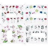 4 unids / set pegatinas de mariposa para uñas, calcomanías de acuarela, flores azules, deslizadores, envolturas, manicura, verano, decoración de uñas, TRSTZ984-1017-4 piezas STZ 699-702