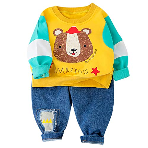 Anglewolf Baby-Trainingsanzug-Jungen-Kleidungs-gesetztes Outfit-Pullover Langarmshirt und Hosen für 1-6 Jahre kleine Kinder durch Baumwollmischung Frühling(Gelb,110/14)