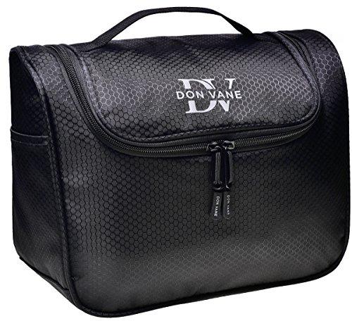 DON VANE® Premium Kulturbeutel groß zum Aufhängen für Damen und Herren - Edle Kulturtasche viele Fächer in Schwarz (L28cm x H23cm x B12,5cm)