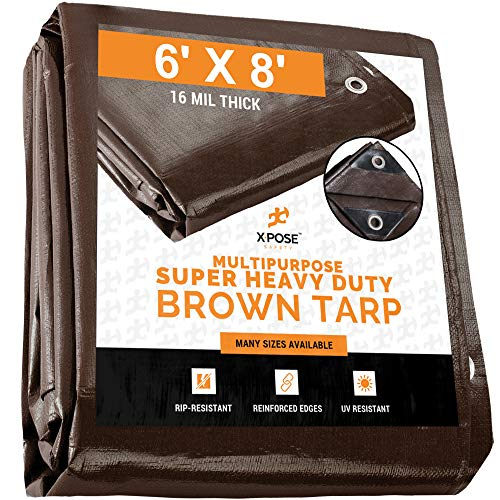 6' x 8' Super Heavy Duty 16 Mil Brown Poly Tarp Cover - Thick Waterproof, UV Resistant, Rip and Tear Proof Tarpaulin with Grommets and Reinforced Edges - by Xpose Safety