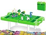 Modbrix Mesa de juegos con placa base y maletín infantil, incluye 230 bloques de sujeción, juguete de viaje