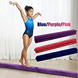 AIBOOSTPRO Gymnastics Beam 2.1M Flannel Foldable Balance Beam for Home Gym Balance Training Kids Fitness (Purple)