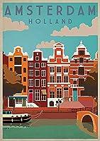 アムステルダムヴィンテージスタイルメタルサインアイアン絵画屋内 & 屋外ホームバーコーヒーキッチン壁の装飾 8 × 12 インチ