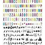 194 letras multicolor y emoticonos negros para letrero luminoso A4, A3 y A5. (sin caja de luz)
