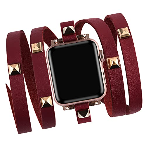 Vikoros Hip Hop Leather Bead Bracelet Compatible with Apple Watch Bands 38mm 40mm iwatch Series SE 6 5 4 3 2 1 for Women Mens, Fashion Charm Bracelets Bangle Jewelry Wristband Strap