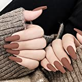 Dreamyn Long Coffin Press on Nails Matte Ballerina Solid False Nails Fashion Acrylic Full Cover Fake Nails Accessories for Women and Girls 24Pcs