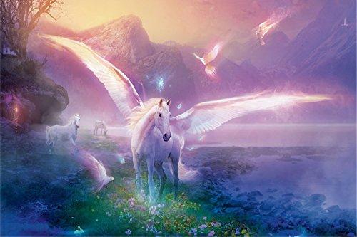 Einhorn Fabelwesen im Paradies XXL Wandbild Kunstdruck Foto Poster P0479 Größe 90 cm x 60 cm, Größe 90 cm x 60 cm