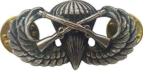 DEURA Airborne Infantry Jump Wing Badge US Army Military Parachute Rifles Pin Antique 1 1/2'