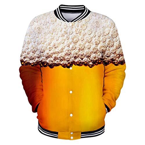 LIMITA Männer Casual Langarmshirts Bier Festival Tops Shirts 3D-Druck Sport Shirts Bierfest Kostüme Herren Bierfest Kleidung