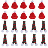10 Set Knitting Christmas Mini Santa Claus Hat and Scarf for Christmas Wine Bottle Candy Dollhouse Christmas Party Supplies