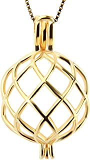 LGSY 24K Gold Plated Twisted Ball Cage Pendants Charm for DIY Jewelry, Design Cage Pendants for Pearl Jewelry