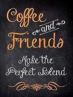 ティンサイン金属ポスター鉄塗装コーヒーと友人は、完璧なブレンダを作ります