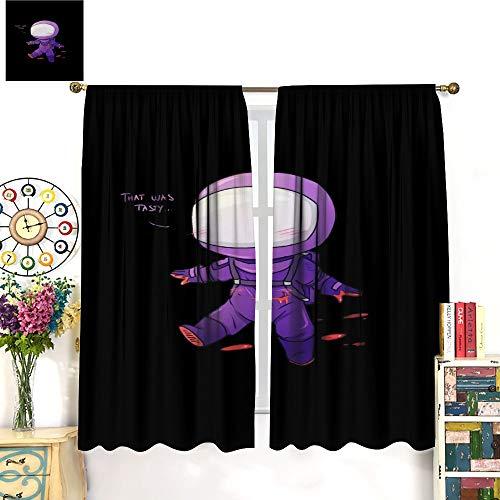 Among Us Game Artlimited Lujosa cortina de decoración de 140 x 160 cm, el ambiente de dormir se vuelve negro cortinas de dormitorio