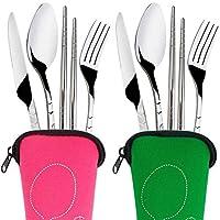 カトラリーセット 4ピース/セットステンレスフォークスプーン箸旅行キャンプカトラリーツール食器 食器セット (Color : Light Blue)