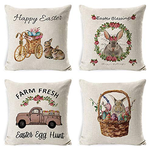 Adonisaon Easter Pillow Covers Bunny Eggs Flower Pillow Covers Cushion Cases Pillowcases for Home Office Car Decorative, Sofa Bed Chair Decorations Set of 4