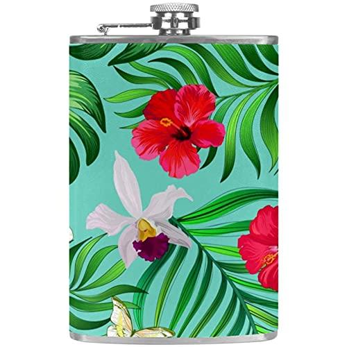 Petaca portátil de bolsillo de 8 onzas, frasco de bolsillo de acero inoxidable, frasco de whisky con práctico embudo para escalar, camping, hibisco flores