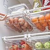 refrigerator organizer bins, Refrigerator Drawers and Storage Clear Under Shelf Basket Egg storage Container Under Shelf Storage Adjustable Sliding Cabinet Organizers Acrylic (1 Grid)