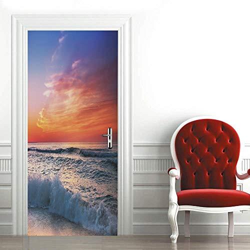 Pegatinas 3D para puerta de interior de puertas autoadhesivas, para dormitorio, casa, dormitorio, oficina, baño, mejoras para el hogar, 77 x 200 cm