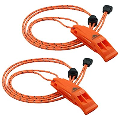 LuxoGear Emergency Whistles with Lanyard Safety Whistle Survival Shrill Loud Blast for Kayak Life Vest Jacket Boating Fishing Boat Camping Hiking Hunting Rescue Signaling Kids Lifeguard Plastic 2 Pack