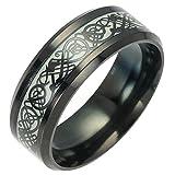 Y-YING サージカル ステンレス 暗闇 で 光る 蓄光 メンズ リング 指輪 結婚 指輪 かっこいい 男性用指輪 ブラック 龍紋 竜