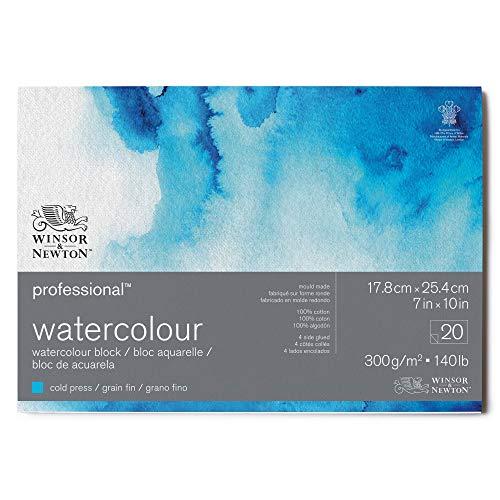 Winsor & Newton Papel de Acuarela, 100% algodón, Blanco Claro Natural, 17,8 x 25,4cm-20 Blatt im Block, 300g/m²