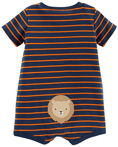 Simple Joys by Carter's Baby Boys' 3-Pack Snap-up Rompers, Green Stripe/Gray Cars/Orange Stripe, 6-9 Months
