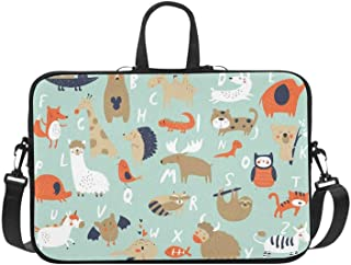 Alphabet Animals Owl Fox Cat Giraffe Pattern Briefcase Laptop Bag Messenger Shoulder Work Bag Crossbody Handbag for Business Travelling